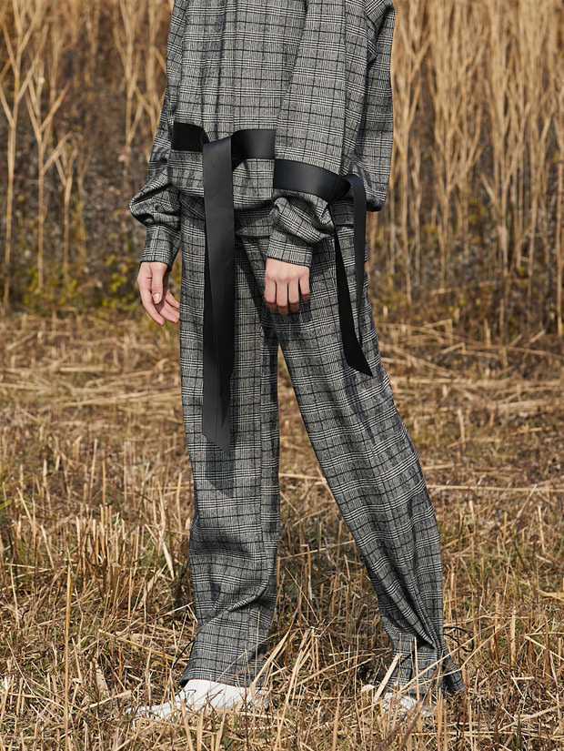 18FW STRIPE-CHECK STRING PANTS_GRAY(CHECK)