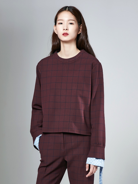 [30%]16FW CHECK CROP TOP