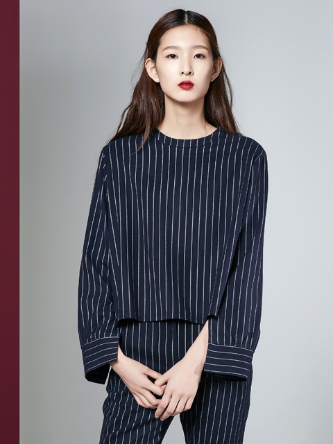 16FW STRIPE CROP TOP