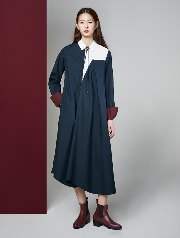 [30%] 16FW UNBALANCE SHIRT DRESS_NAVY