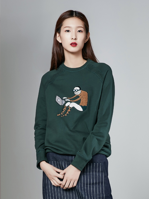 [30%] * UNISEX * [NAVY] 16FW DRAMER CHARACTER SWEAT TOP_GREEN