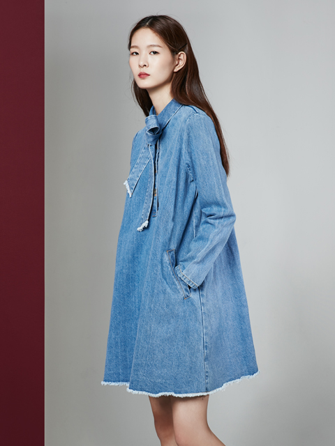 16FW DREAMER RIBBON DENIM DRESS_BLUE