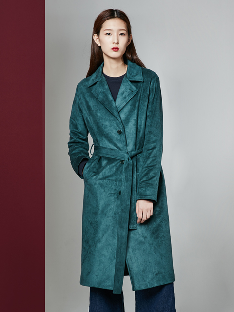 [30%] * UNISEX * 16FW DRAMER  SUEDE LONG COAT_GREEN