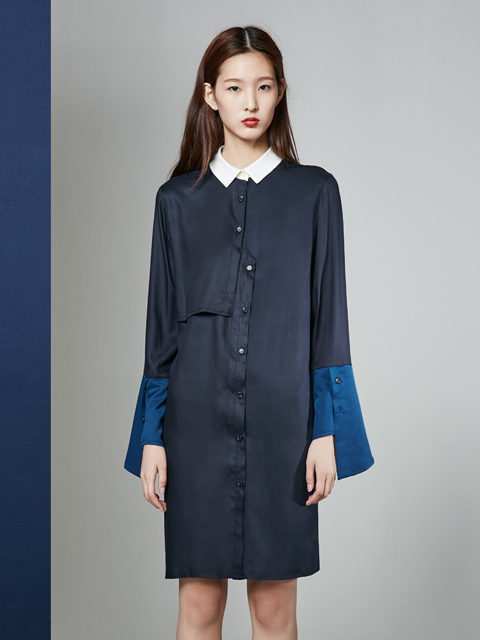 [30%] 16FW WIDE CUFFS DRESS_NAVY