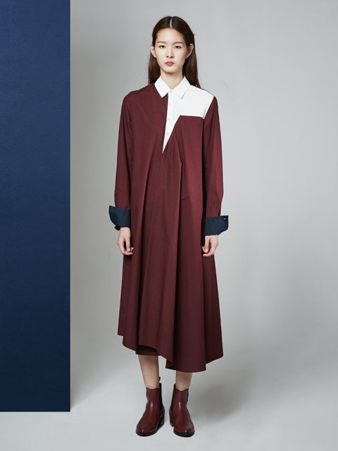[30%] 16FW UNBALANCE SHIRT DRESS_WINE