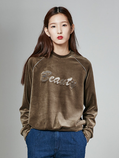[30%] 16FW BEAUTY VELVET SWEAT TOP_KHAKI