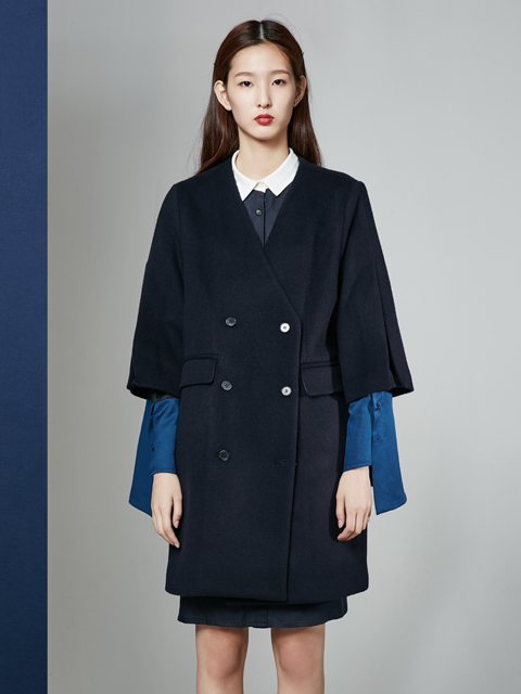 [30%] 16FW BELL SLEEVE DOUBLE COAT_NAVY