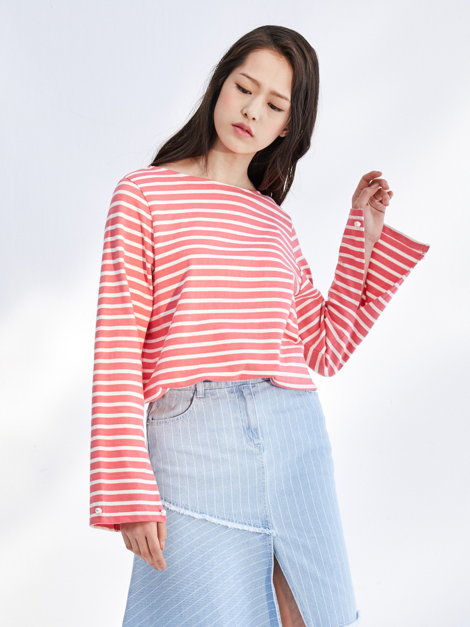 17SS DETACHABLE CUFFS STRIPE TOP_PINK