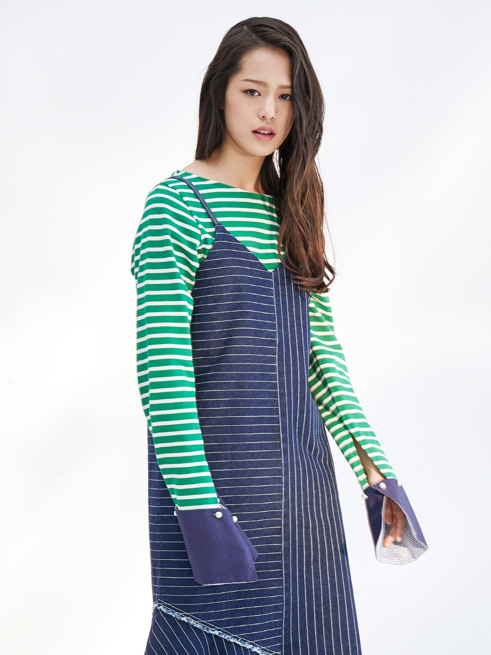17SS DETACHABLE CUFFS STRIPE TOP_GREEN