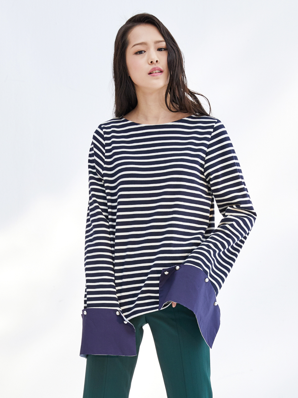 17SS DETACHABLE CUFFS STRIPE TOP_NAVY