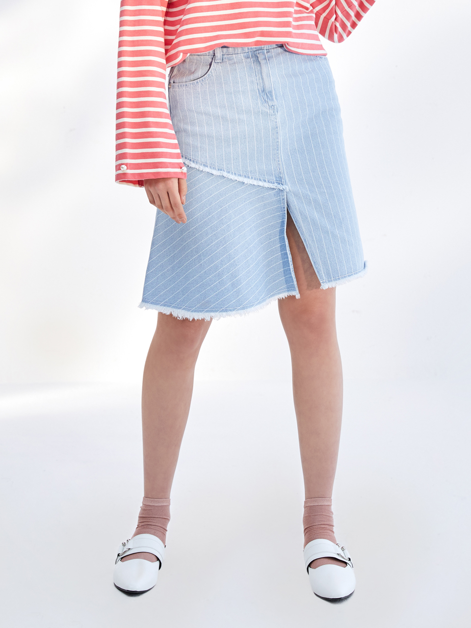 17SS STRIPE UNBALANCE DENIM SKIRT_LIGHT BLUE