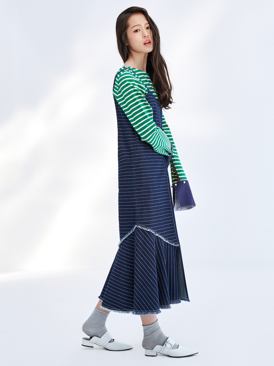 17SS STRIPE DNIM SLIP DRESS_NAVY