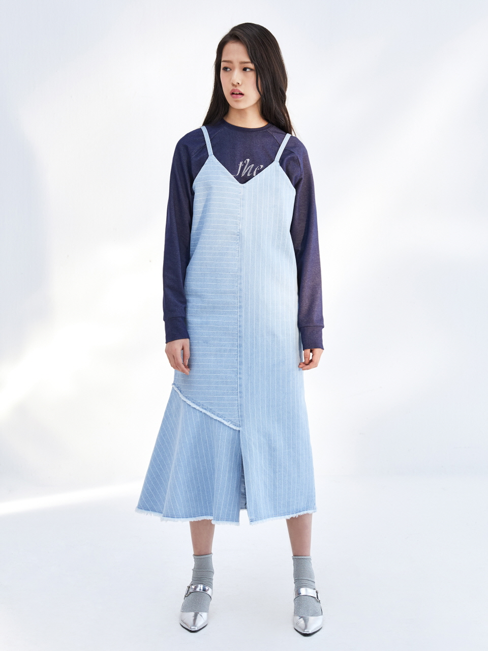 17SS STRIPE DNIM SLIP DRESS_LIGHT BLUE