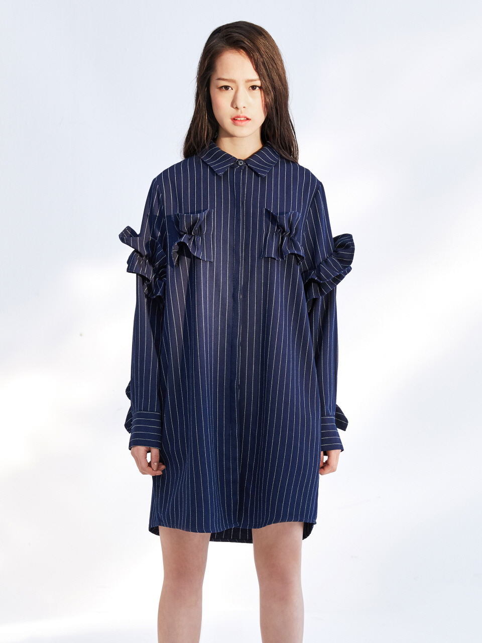 17SS RUFFLE SHIRT DRESS_NAVY