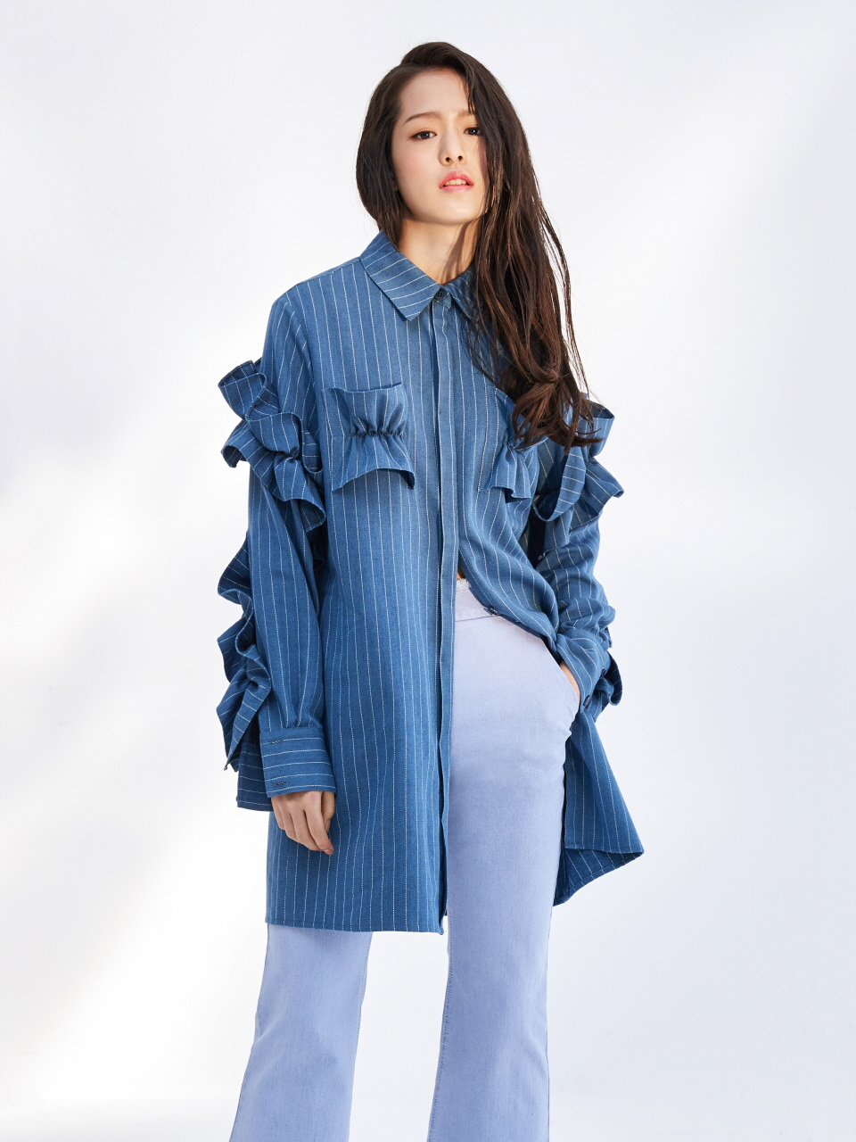 17SS RUFFLE SHIRT DRESS_BLUE