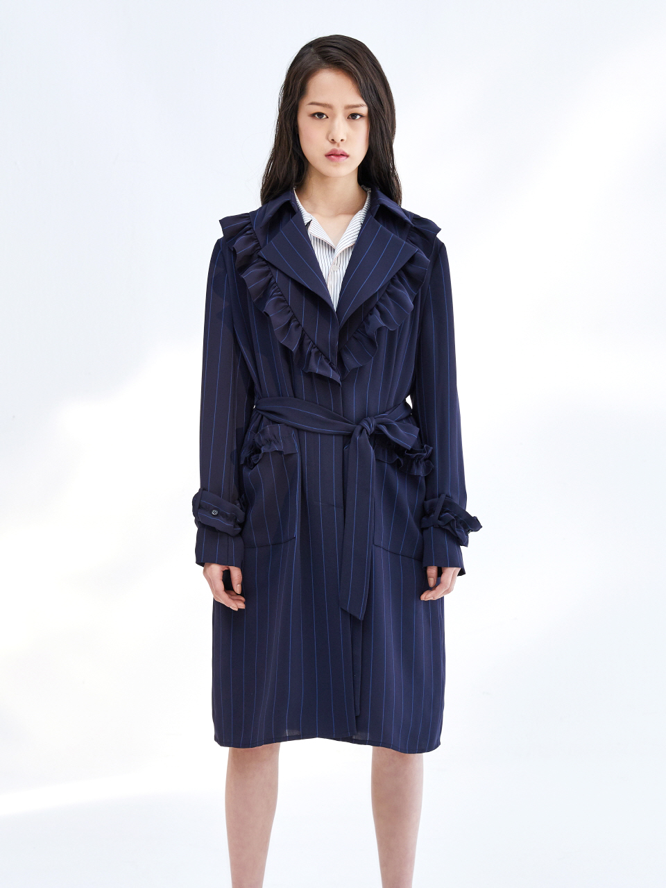 17SS STRIPE FRILL TRENCH COAT