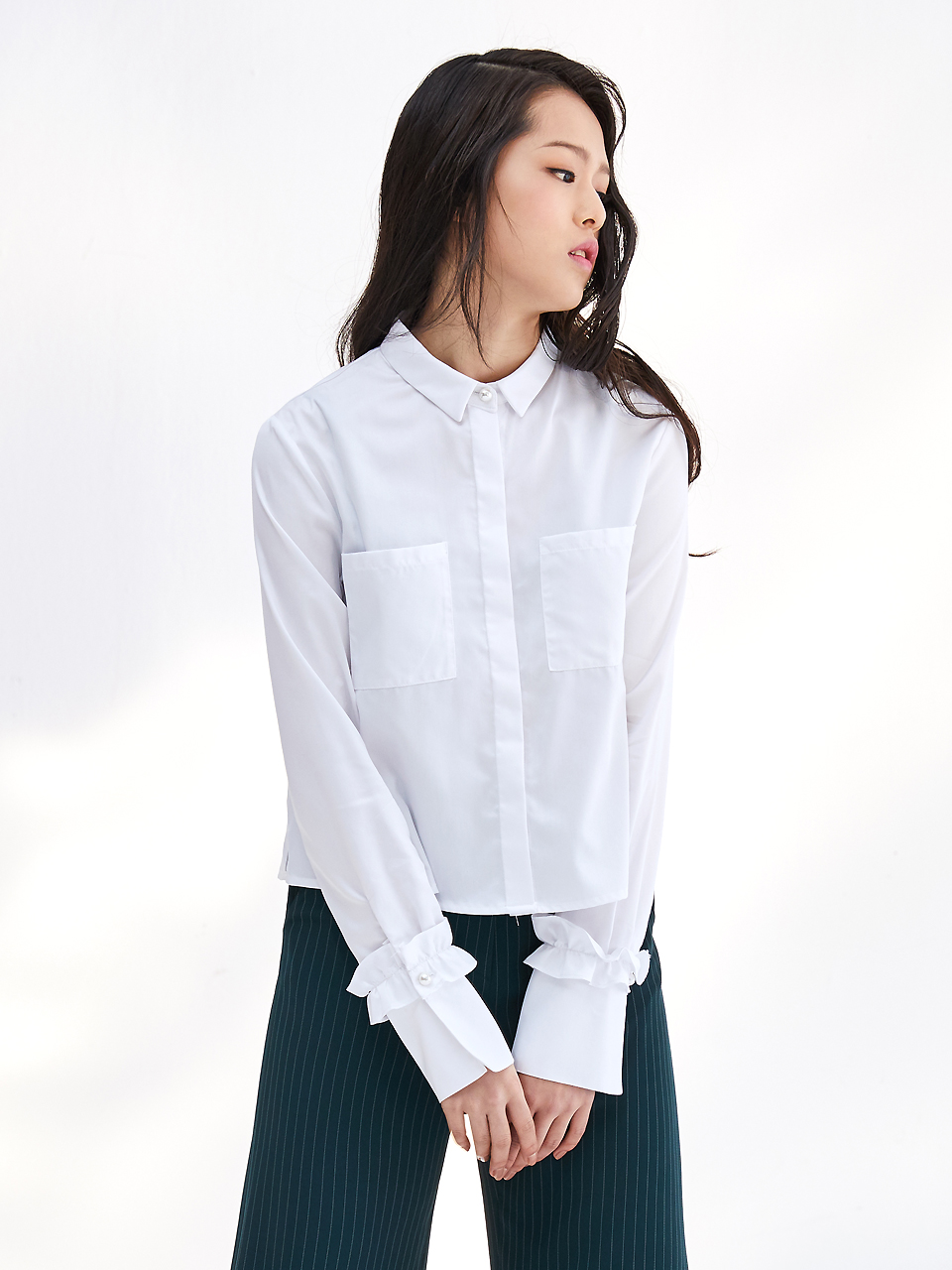 17SS FRILL CROPPED SHIRT