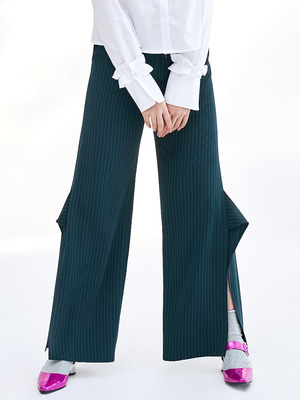 17SS SIDE SLIT RUFFLE PANTS_GREEN