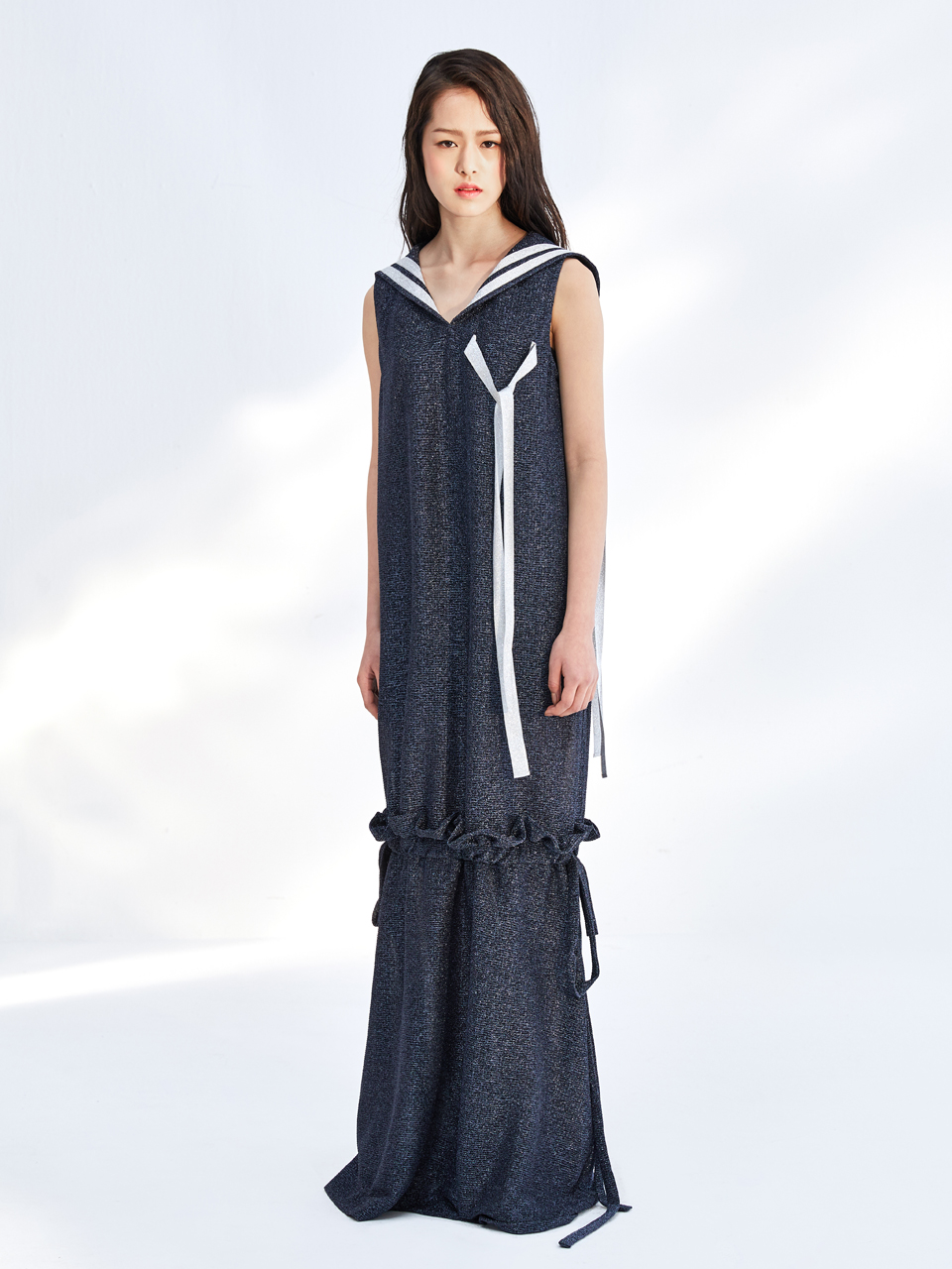 17SS GLITTER SLEEVELESS DRESS_NAVY
