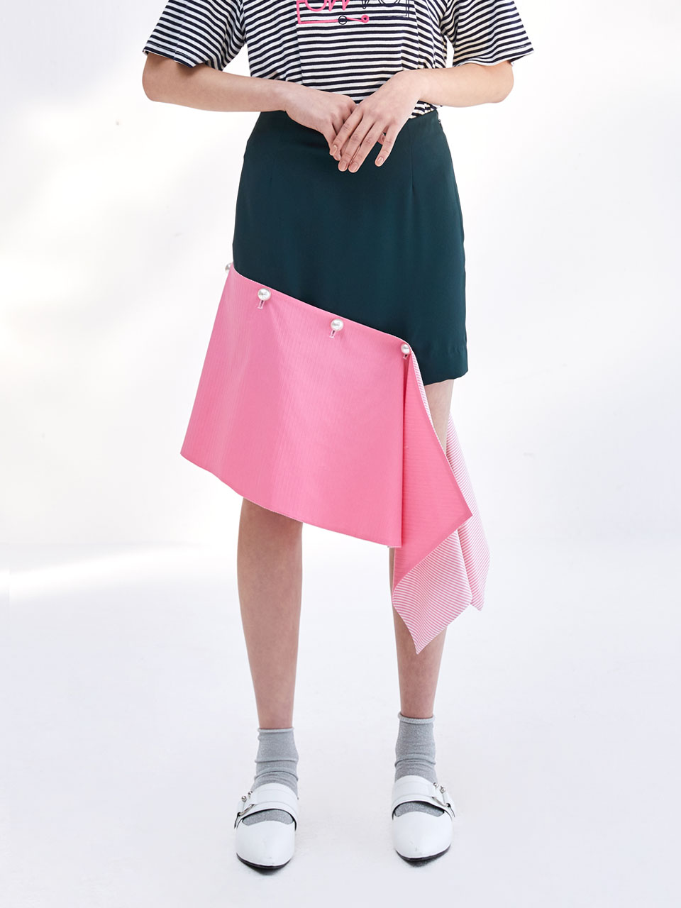 17SS DETACHABLE  DRAPED SKIRT_GREEN