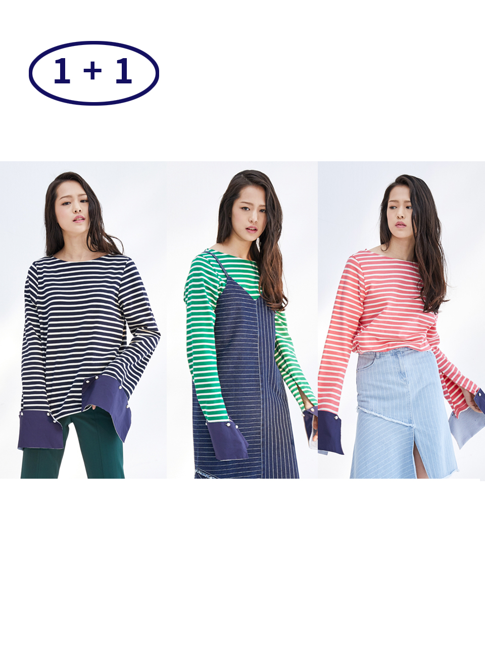 17SS DETACHABLE CUFFS STRIPE TOP 1+1