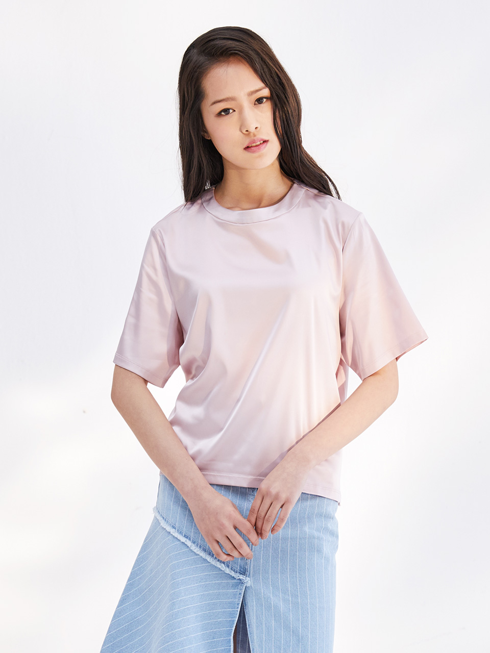 17SS BACK OPEN SATIN TOP_PINK