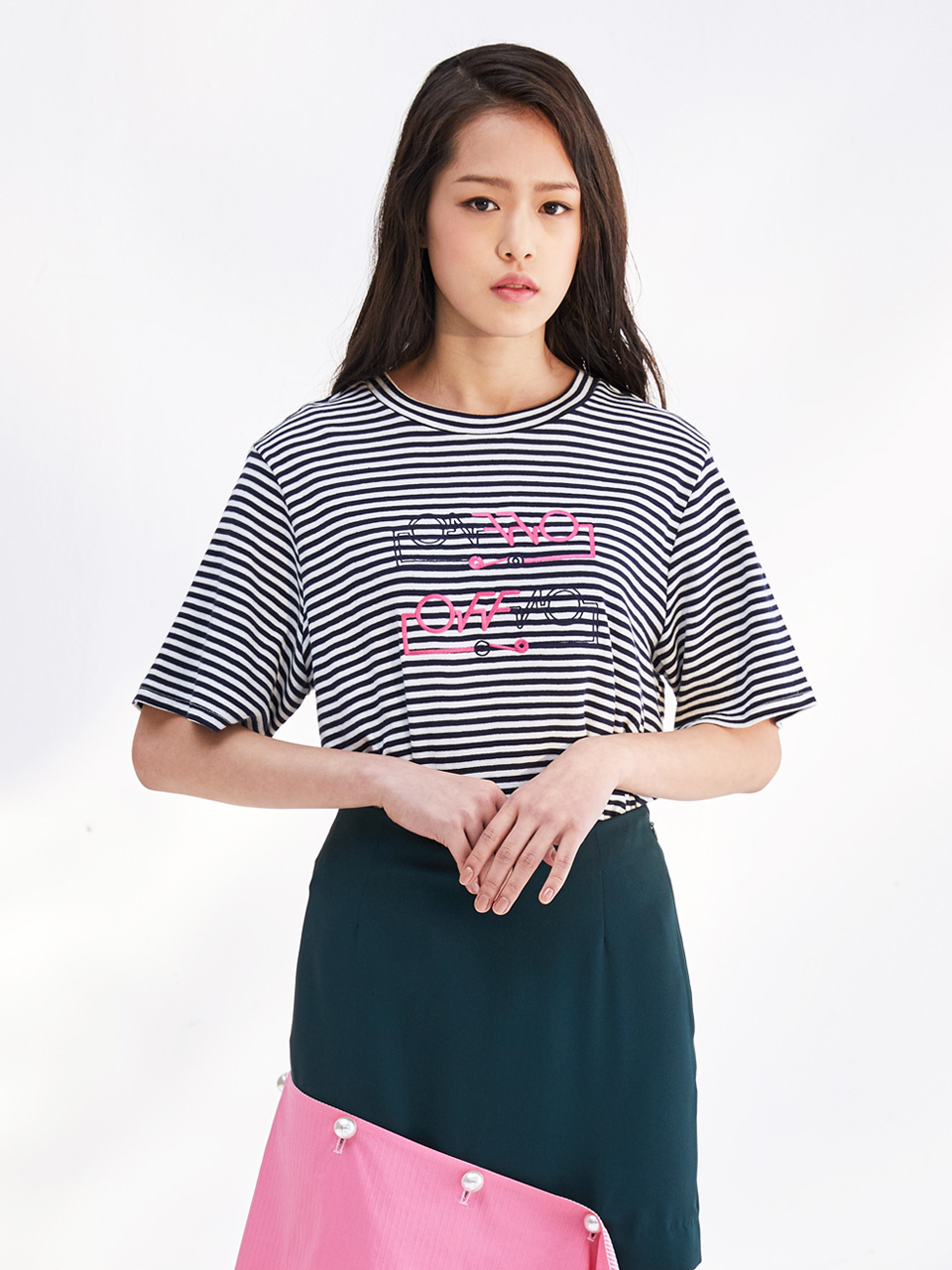 17SS ON-OFF HALF SLEEVE T_NAVY