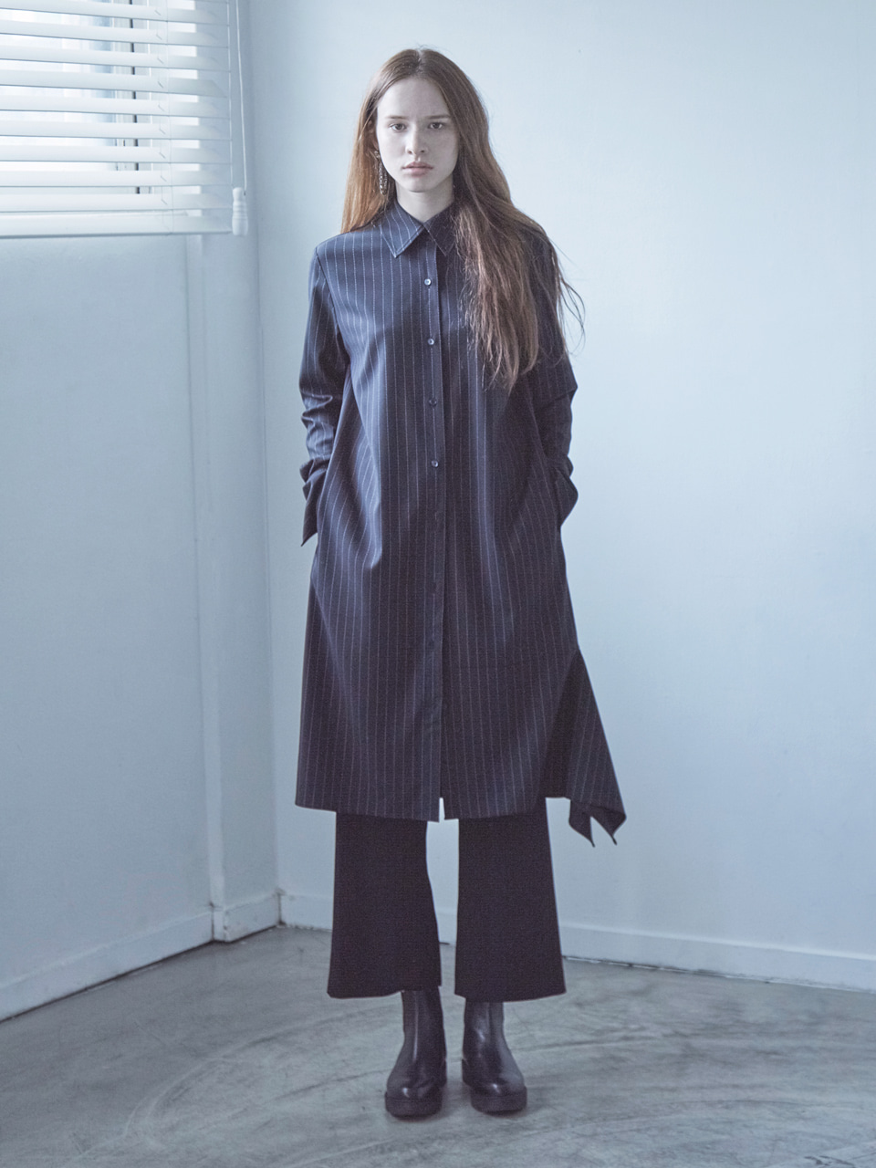 17FW DRAPED SHIRT DRESS_STRIPE