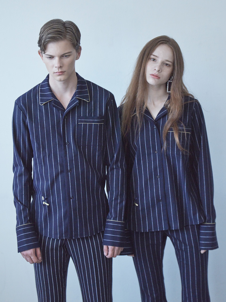 17FW K PAJAMA SHIRT_NAVY STRIPE