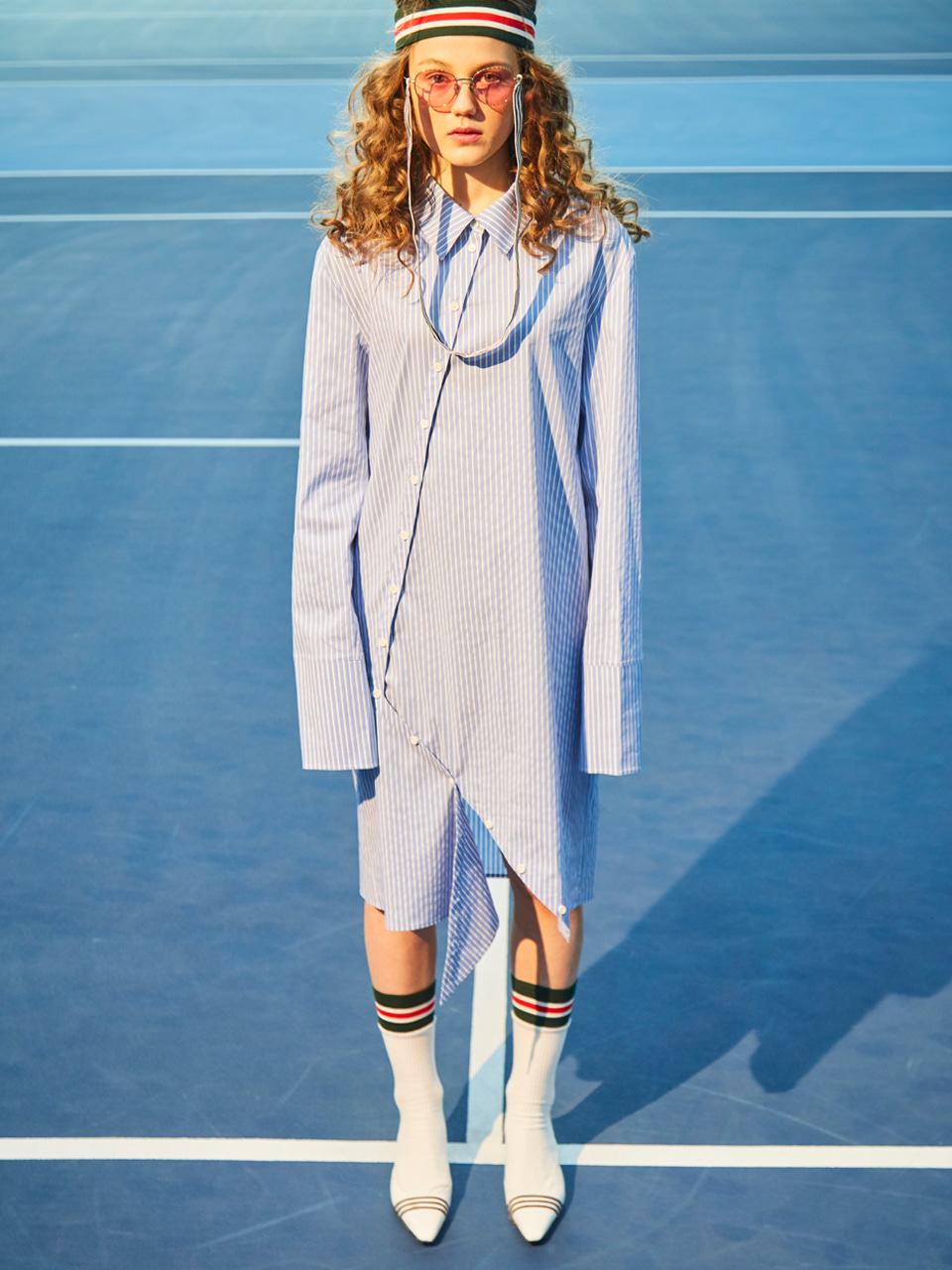 18SS UNBALANCE CUTTING SHIRT DRESS_BLUE