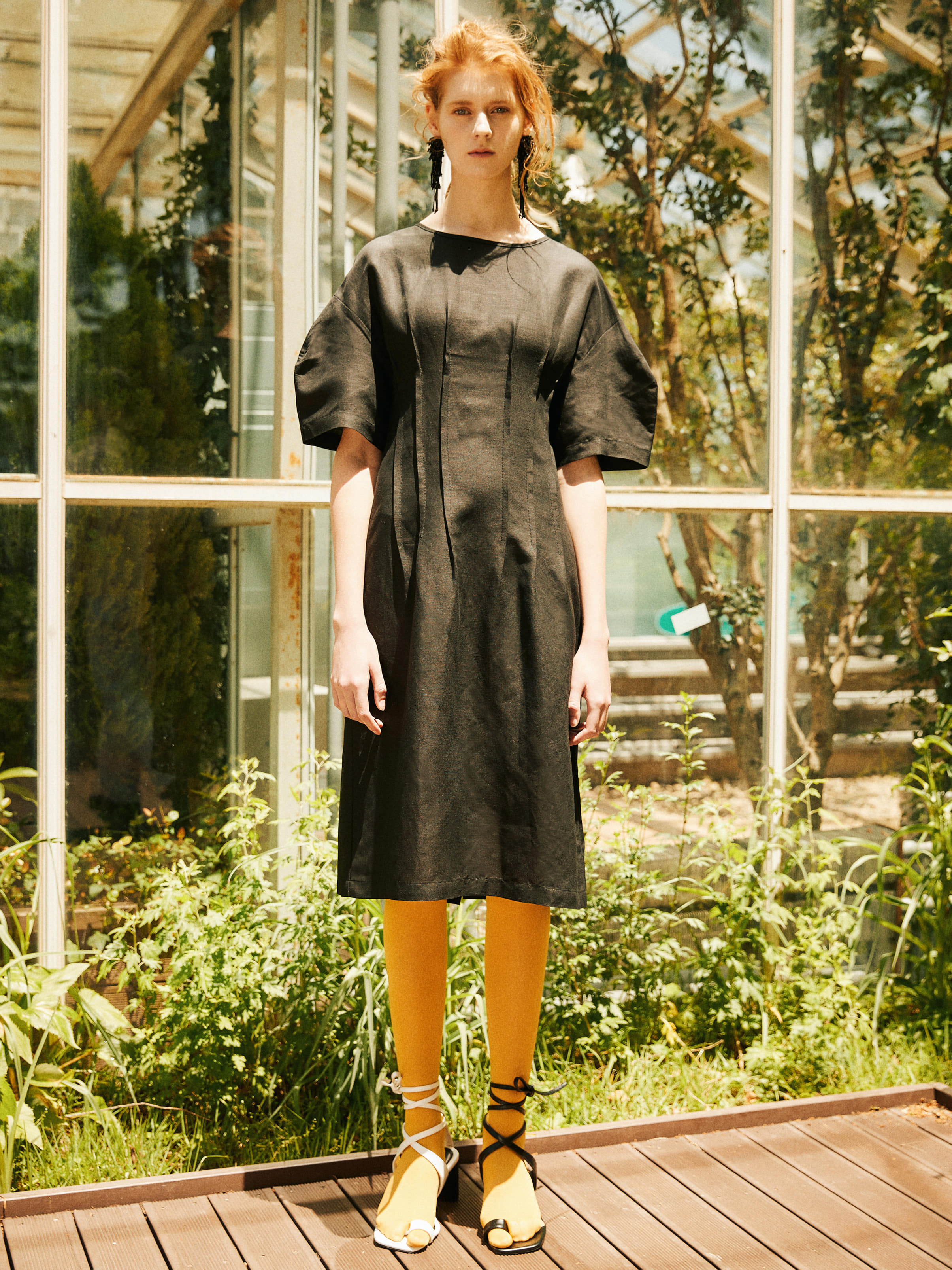 18SS LINEN PINTUCK DRESS_BLACK