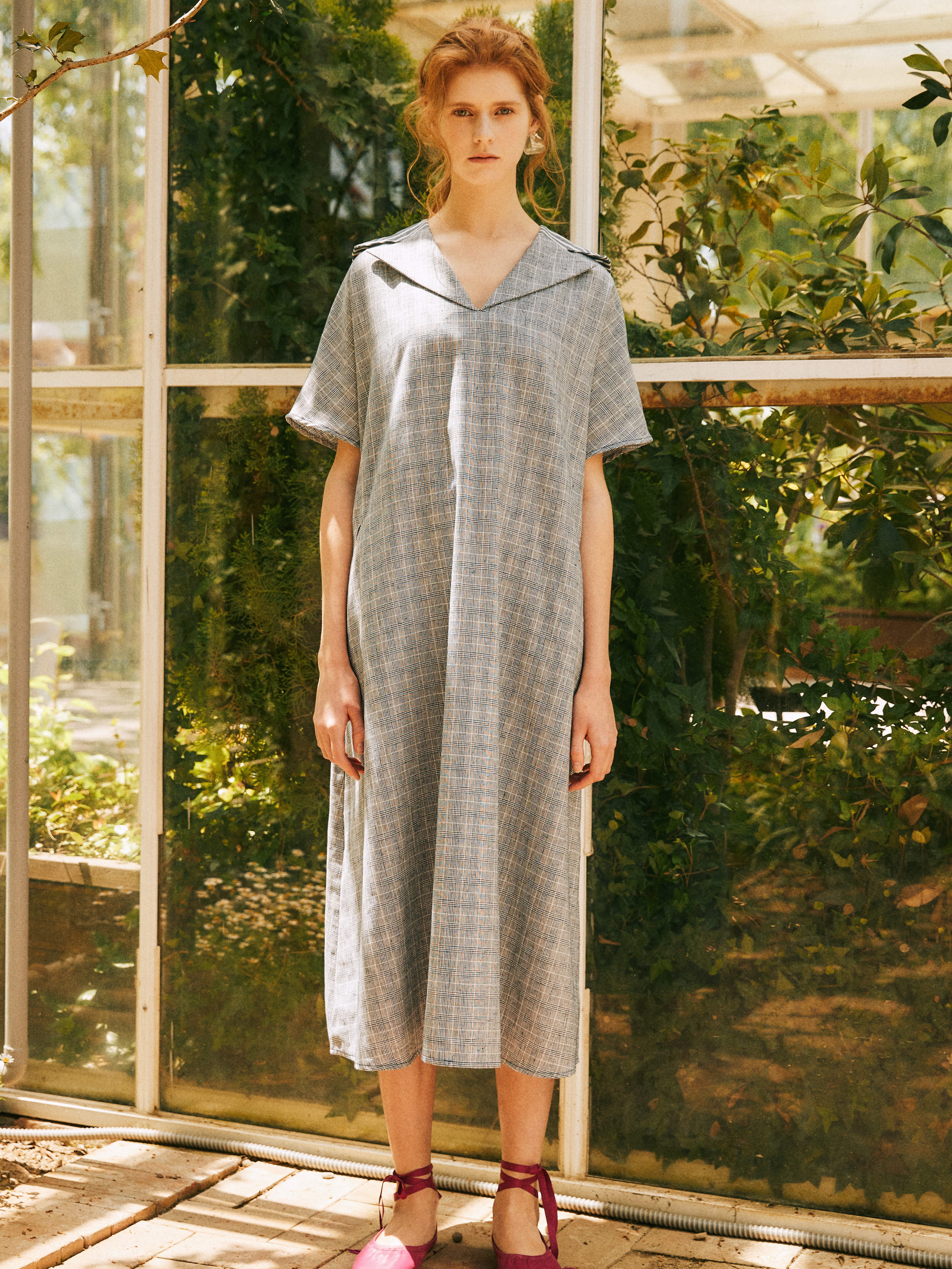 18SS LINEN SAILOR LONG DRESS_NAVY
