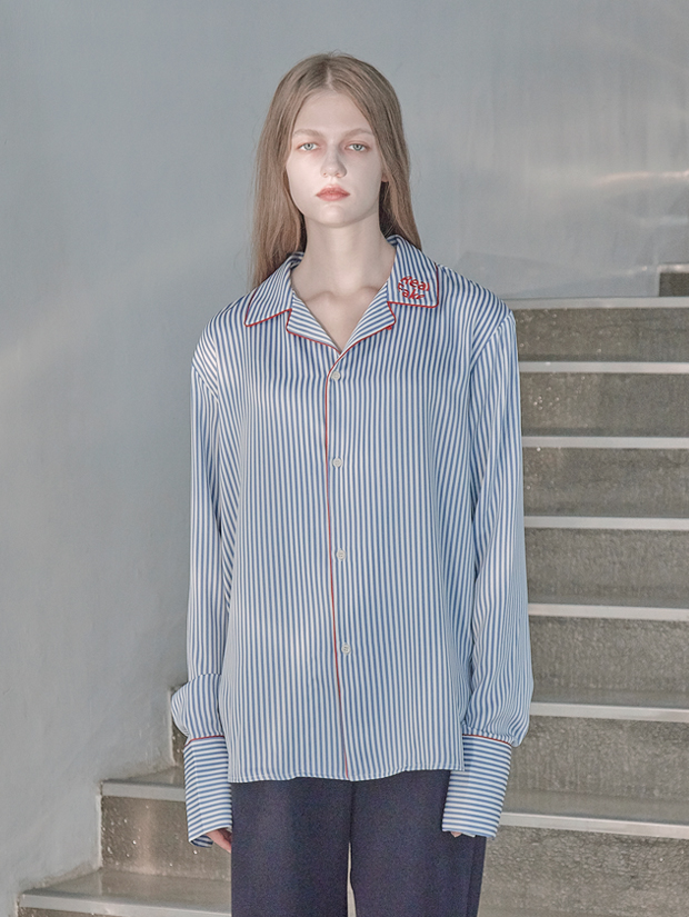 18FW STRIPE PAJAMA SHIRT_BLUE