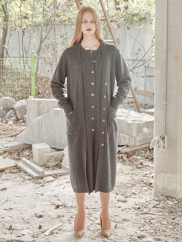 18FW LAYERED LONG CARDIGAN_CHARCOAL