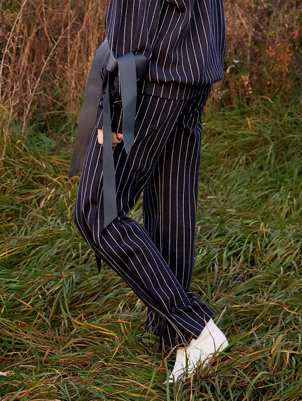 18FW STRIPE-CHECK STRING PANTS_NAVY(STRIPE)