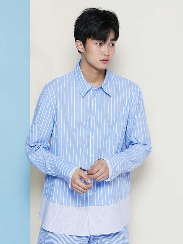 19SS STRIPE LAYERED SHIRT