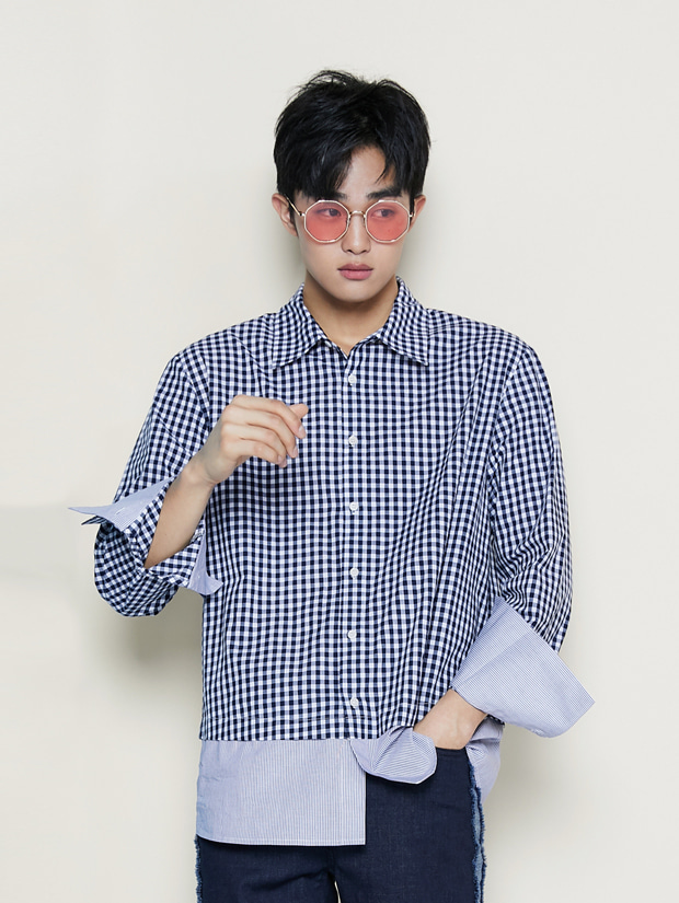 19SS GINGHAM CHECK LAYERED SHIRT