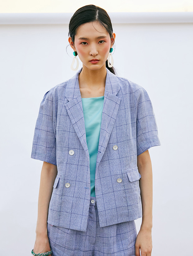 19SS CHECK VOLUME SLEEVE JACKET_NAVY