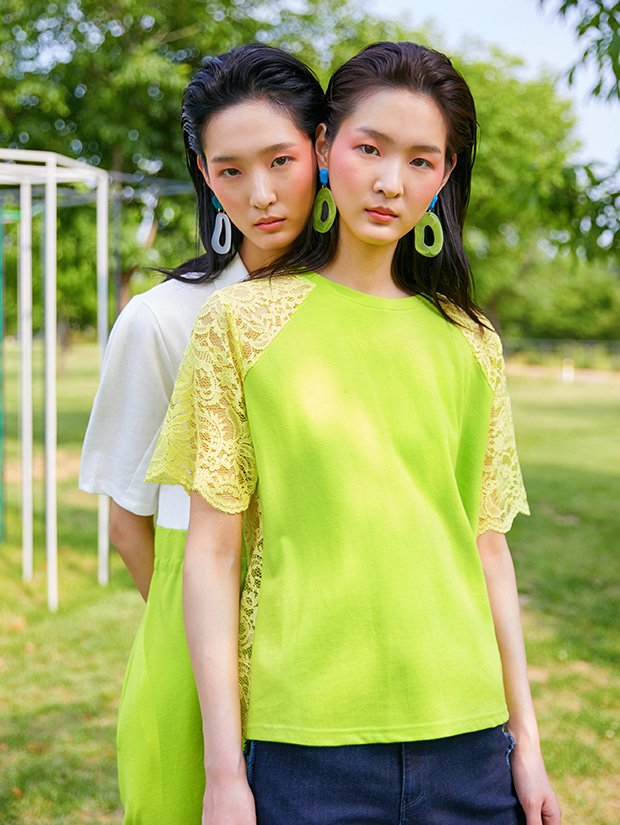 19SS BACK LACE T-SHIRT_LIME