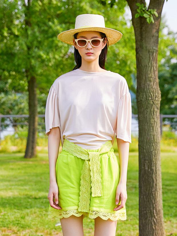 19SS LACE HALF PANTS_LIME