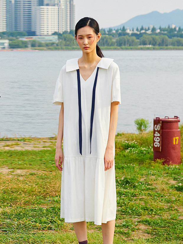 19SS DETACHABLE RIBBON COLLAR DRESS_WHITE