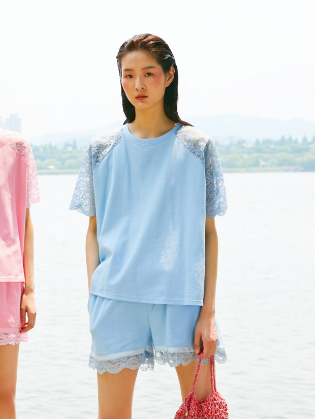 19SS BACK LACE T-SHIRT_BLUE