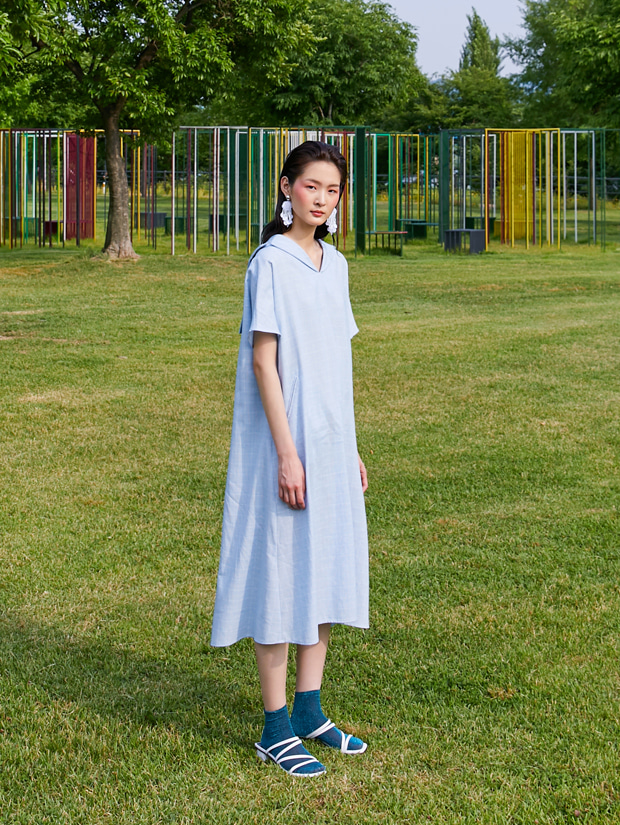 19SS LINEN SAILOR DRESS_BLUE