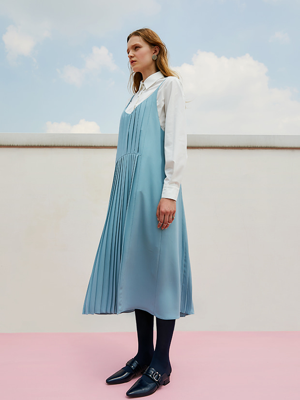 19FW 1ST PLEATS SLIP DRESS_LIGHT BLUE