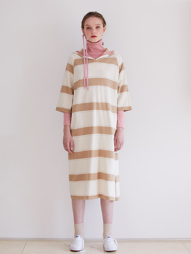 19FW PRE-FALL SAILOR STRIPE DRESS_BEIGE