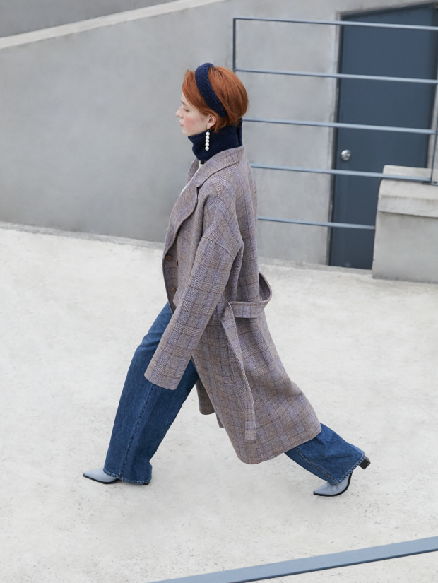 19FW 2ND CHECK TAILORED COAT brown