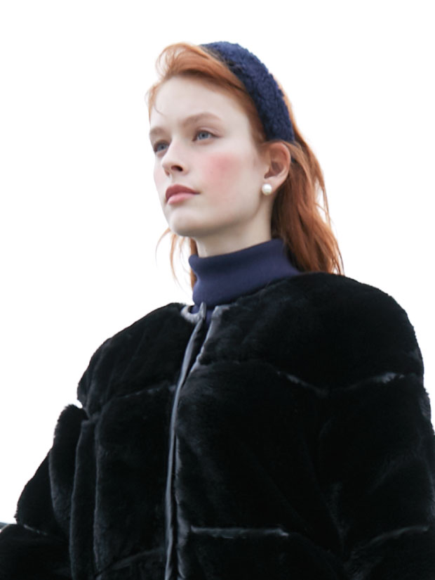 19FW 2ND ECO FUR HAIR BAND navy