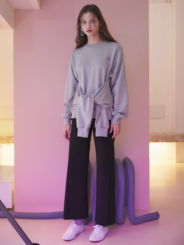 20SS 1ST FRONT SLIT PANTS GRAY_BLACK