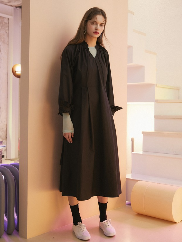 [1+1] 20SS 1ST SHIRRING LONG DRESS BLACK