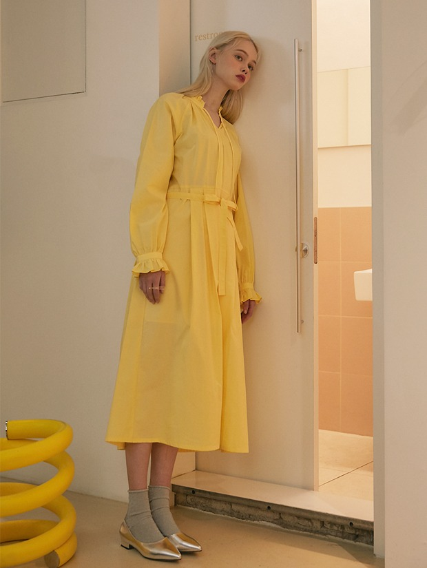 20SS 1ST SHIRRING LONG DRESS YELLOW